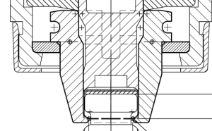 Figure 1. Basic layout of 4-jaw crimping mechanism showing the compressed cap in the final position